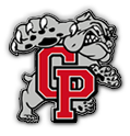 Crown Point high school logo. A gray bulldog with red letters C and P in front.