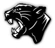Griffith high school logo. A black and white panther head.