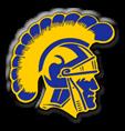 Highland high school logo. A yellow and blue Trojan head.