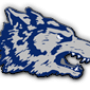 Michigan City high school logo. A blue and silver wolf head.