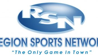 """Region Sports Network logo. A blue circle with the letters R S N in it. The words """"Region Sports Network the only game in town"""" under in."""