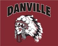 "Danville high school logo. An indian head on a red background with the word ""Danville"" on top."
