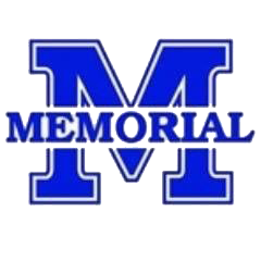 Evansville Memorial high school logo. A blue M with the word Memorial in front.