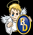 FW Dwenger logo. An angel holding a blue and gold circle with the letters BD on it.