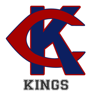 Lewis Cass high school logo. A blue K and a red C intertwined with the word