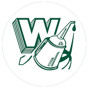 Whiting high school logo. A green W with a green oil can in front.