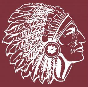 Winamac high school logo. An Indian head in maroon.