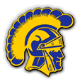 Highland high school logo. A yellow and blue Trojan head.